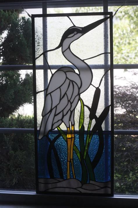 stained glass pattern blue heron 14 x 31 stained glass white heron panel stained glass