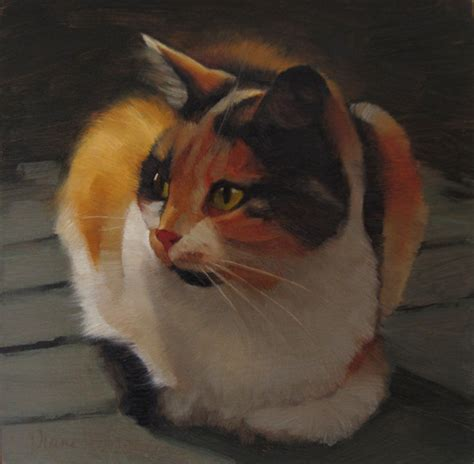calico cat painting diane hoeptner cat painting of a calico cat