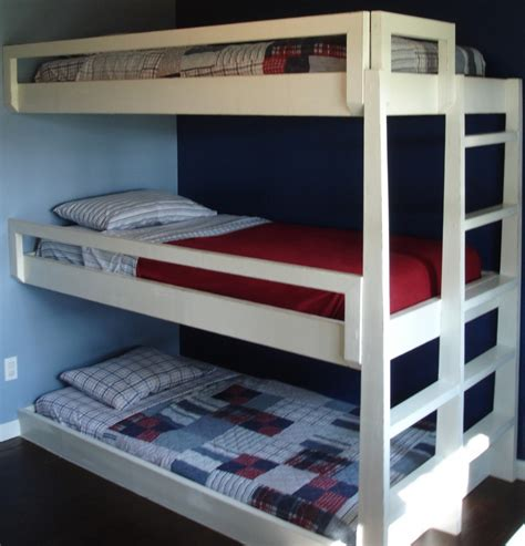 Bunk Bed With 3 Beds Plans To Build Bunk Beds Plans Free