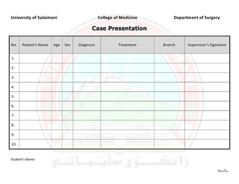 surgery schedule template surgery 6th year requirement sheet presentation