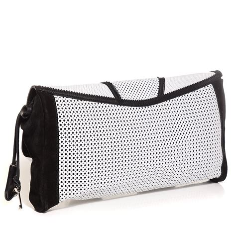 Patchwork Clutch - jimmy choo perforated leather ally mixed media patchwork
