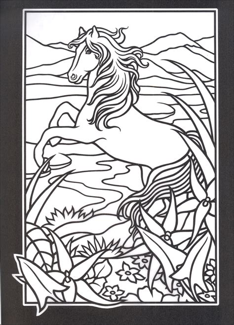 stained glass coloring book horses stained glass coloring book 051081 details