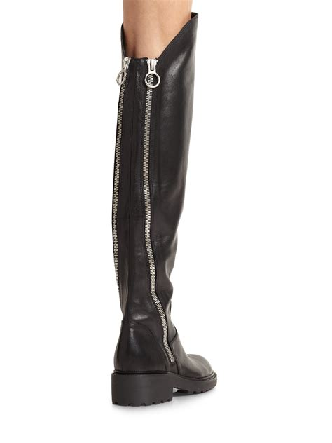 the knee leather boots ash seven leather the knee zipper boots in black lyst