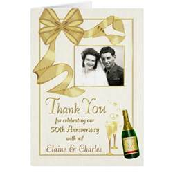 50th anniversary thank you cards vintage bow zazzle