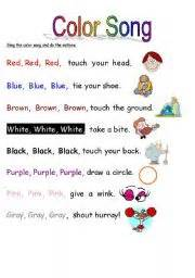 color songs worksheet color song