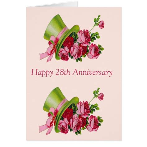 Top hat and flowers, Happy 28th Anniversary Card   Zazzle
