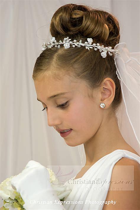communion hairstyles buns first communion wreath veil v871 firstcommunions com