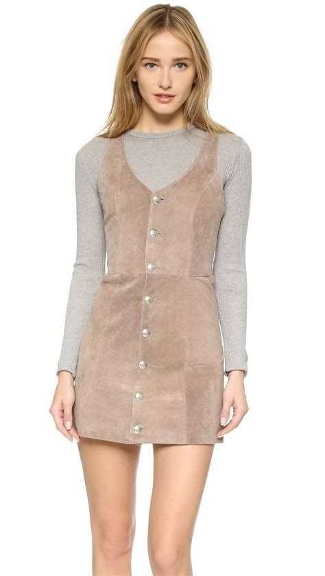 Dress For Button lyst capulet front button suede dress in brown