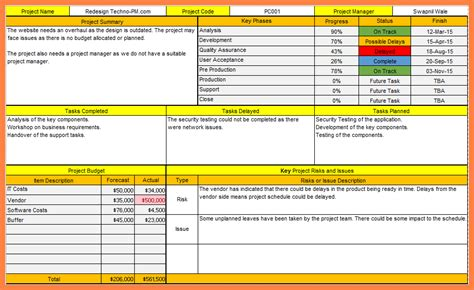 weekly project report one page project status report