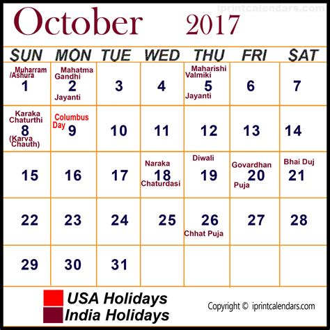 Calendar 2017 October With Holidays October 2017 Calendar With Holidays Templates Tools