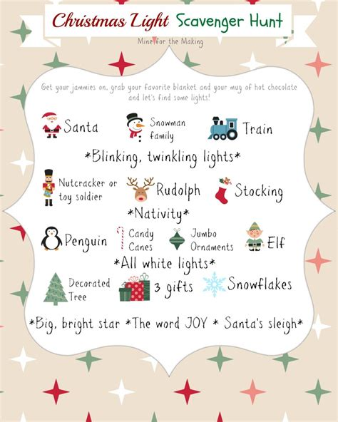 10 christmas light scavenger hunt printables mine for