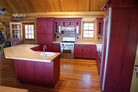 rustic red kitchen cabinets red distressed kitchen cabinets