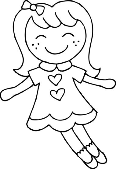 rag doll outline dolly coloring page free clip