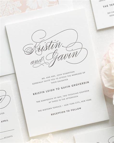 Letterpress Wedding Invitations by Script Elegance Letterpress Wedding Invitations