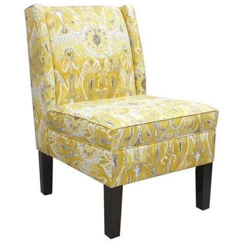 Yellow Patterned Slipper Chair | skyline furniture cotton wingback slipper chair in yellow