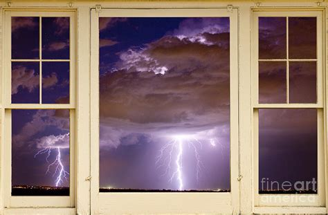 double lightning strike picture window photograph by james