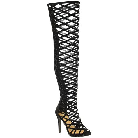 thigh high sandal boots womens thigh high the knee stiletto heels cut out