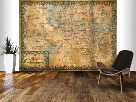 decorative wall murals map of the shire middle earth wall mural the hobbit