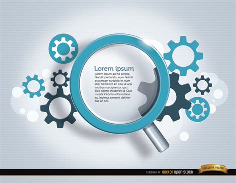 Search Backgrounds Search Magnifying Glass Gears Background Free Vector
