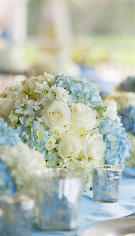 blue hydrangea centerpiece and hydrangea centerpiece blue hydrangeas white roses wedding ideas weddings