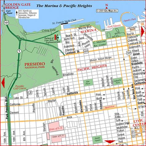 san francisco map marina district road map of san francisco pacific heights san francisco
