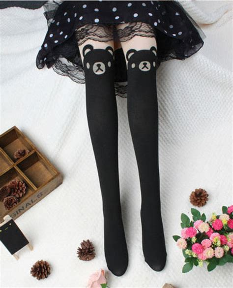 cute stockings japan bear tail high hosiery harajuku pantyhose tattoo