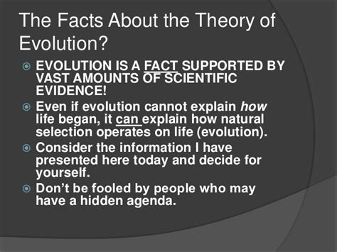 facts about the facts about evolution