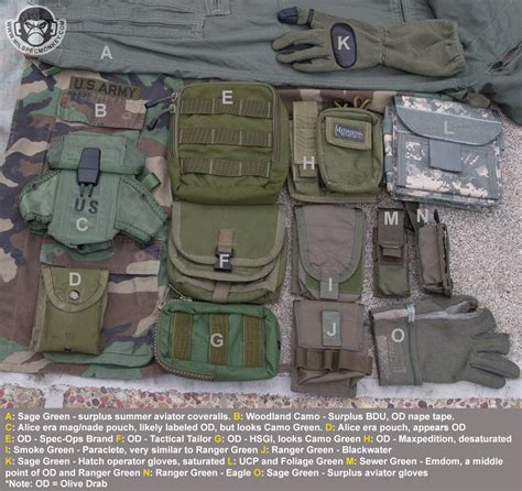 army green range military greens reference sheet