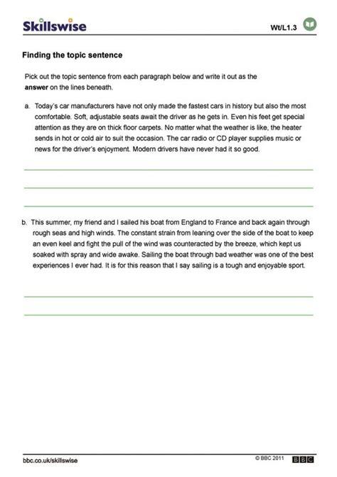 Topic Sentence Worksheet High School by Finding Topic Sentences Topic Sentences