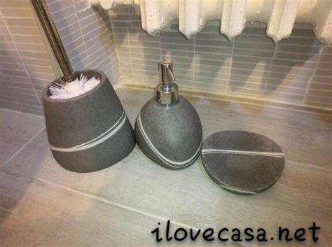set per il bagno set accessori da bagno effetti pietra di colore grigio