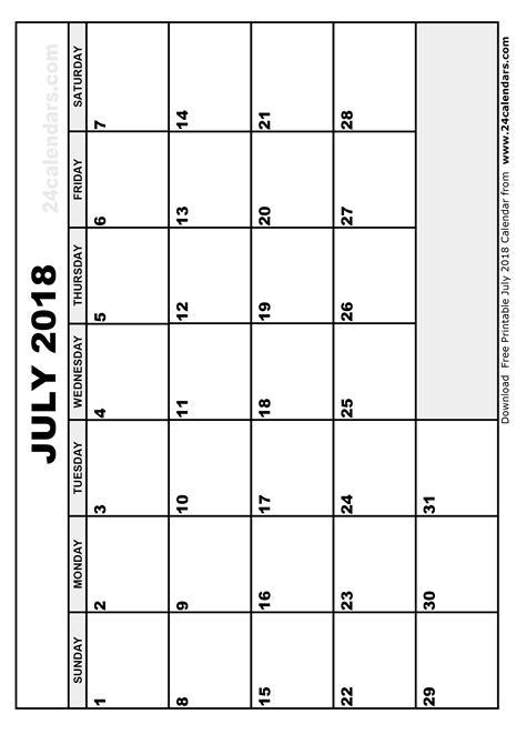 July 2018 Calendar July 2018 Calendar Printable