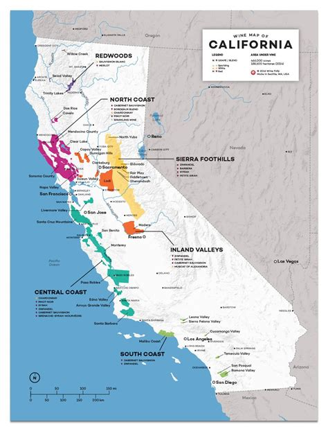 map california usa detailed map of wine regions in california usa wine