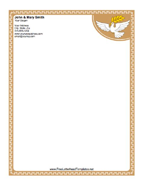 free church letter templates dove letterhead