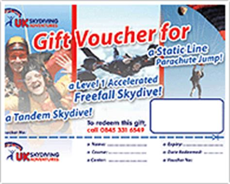 Skydiving Gift Vouchers Skydiving Gift Certificate Template