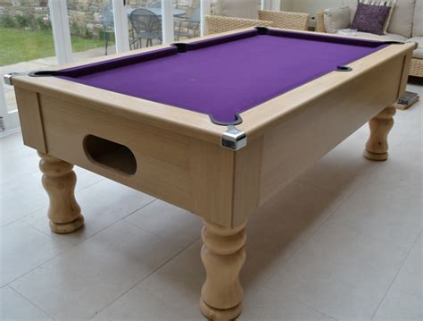 light oak traditional pool table with maroon smart cloth