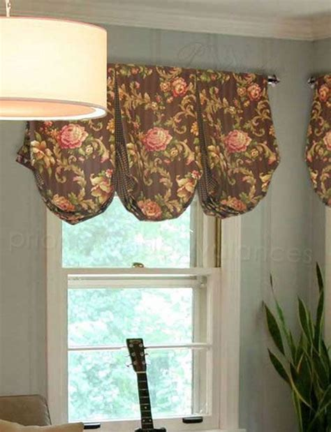pouf valance curtains brown pink floral box pleated balloon valance with deep