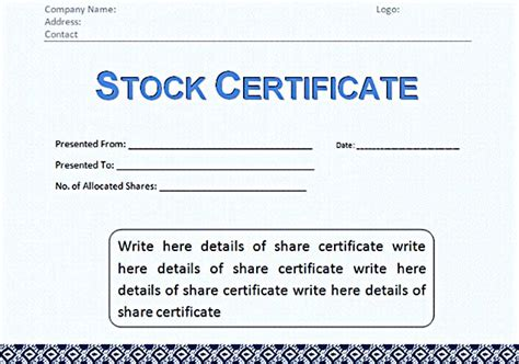 corporate stock certificate template stock certificate template free in word and pdf