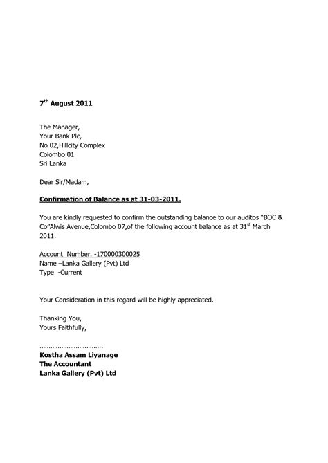 Letter To Bank For Loan Outstanding Audit Confirmation Letter Format Best Template Collection
