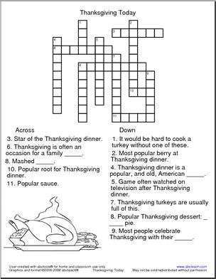printable crossword puzzles middle school this thanksgiving themed crossword puzzle is perfect for