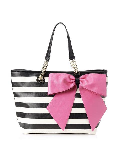 Tas Blacu Tote Bage betsey johnson bow tastic tote shoulder bag black stripe one size handbags