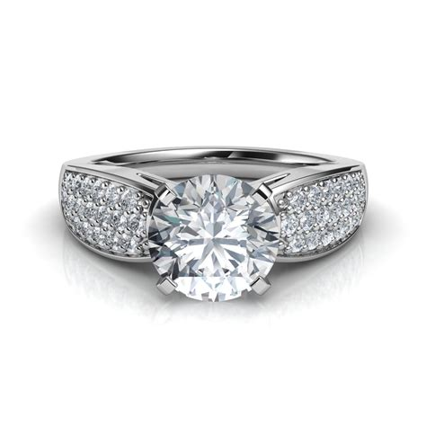 pave engagement rings wide band pav 233 cut engagement ring
