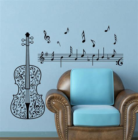 large wall sticker decor note guitar decal home