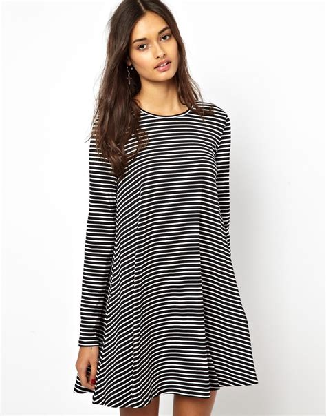 striped swing dress glamorous jersey swing dress in stripe in gray blackcream