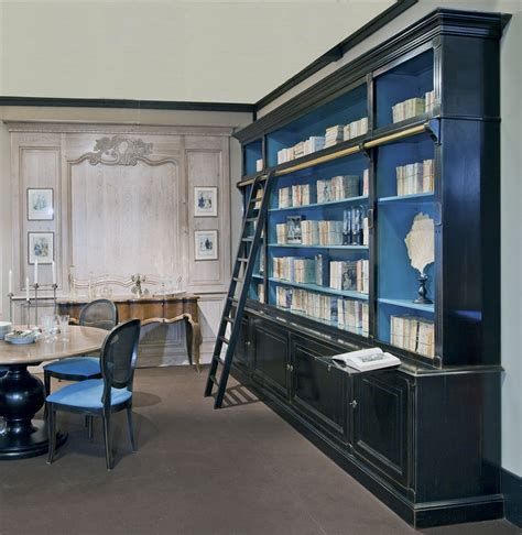 high end library bookcase with ladder french country home