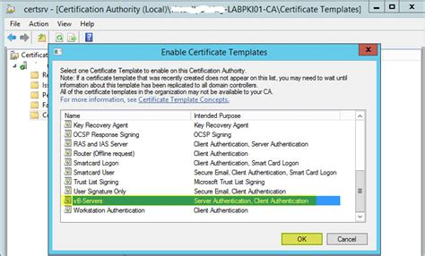 microsoft active directory certificate services template