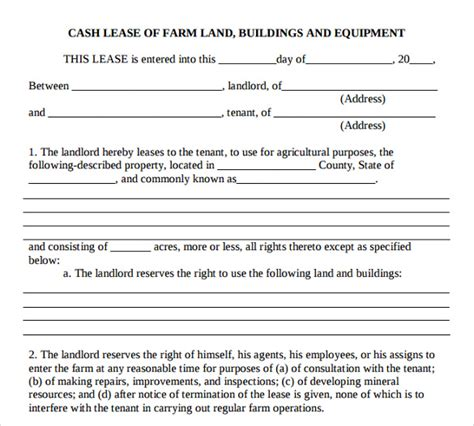 farm land lease agreement template sle basic lease agreement 9 documents in pdf
