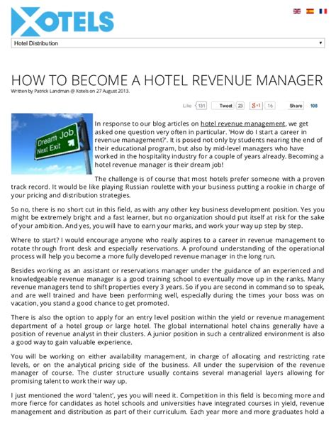 Become A Hotel Manager by How To Become A Hotel Revenue Manager