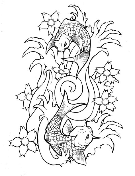 koi fish tattoo outline designs portfolio august 2010