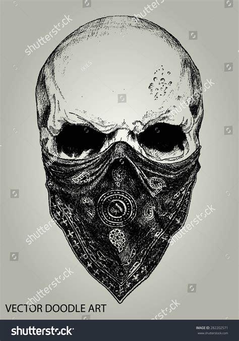 doodle release demons skull bandana doodle vector stock vector 282202571