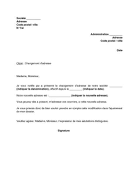 Lettre De Domiciliation Entreprise Lettre De Notification De Changement D Adresse De La Soci 233 T 233 Mod 232 Le De Lettre Gratuit Exemple
